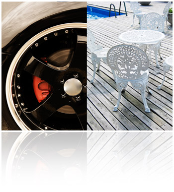 Abrasives Blasting: car rim and patio furniture
